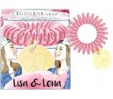 Invisibobble Original Lisa & Lena originální vlasová gumička čirá s tmavě růžovým proužkem 1 kus