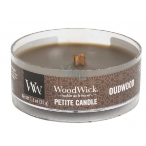 WoodWick Oudwood - Resin scented candle with wooden wick petite 31 g
