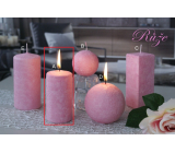 Lima Marble Scent of flowers Rose scented candle pink cylinder 50 x 100 mm 1 piece