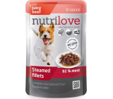 Nutrilove Stewed fillets with juicy beef in sauce complete dog food pocket 85 g
