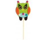 Felt owl with flowers recess 9 cm + skewers