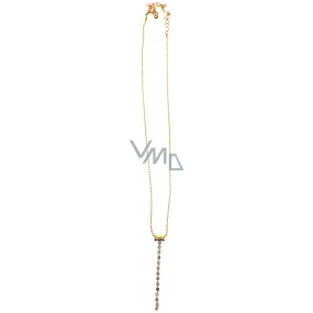 Costume jewelery Gold necklace with strass stones pendant 37 cm