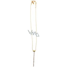 Bižuterie Náhrdelník zlatý s přívěškem ze štrasových kamínků 37 cm