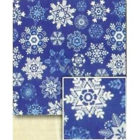 Nekupto Christmas wrapping paper Blue, snowflakes white, silver, blue 0.7 x 5 m