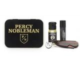Percy Nobleman Beard Styling Wax 5 ml + Folding Beard and Beard Needle + Nutritive 10 ml Beer Oil Conditioner + Percy Nobleman Perfume Brooch, Men's Beard Set