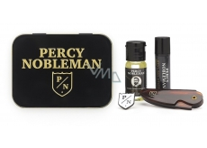 Percy Nobleman Beard Styling Wax 5 ml + Folding Beard and Beard Needle + Nutritive 10 ml Beer Oil Conditioner + Percy Nobleman Perfume Brooch, Men's Beard Set