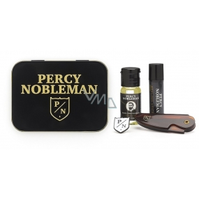 Percy Nobleman Styling beard wax 5 ml + foldable travel comb for mustache and mustache + nourishing oil conditioner for beards 10 ml + brooch with Percy Nobleman logo, beard set for men