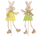 Bunny with boots wooden recess 13 cm + skewers 1 piece