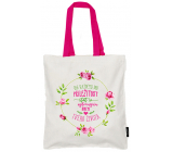 Nekupto Don't plastic Shopping bag cotton, Give every day the opportunity 38 x 40 x 10 cm