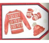 Nekupto Christmas gift cards Sweater, hat and gloves 5.5 x 7.5 cm 6 pieces