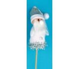 Santa figurine white recess 8 cm + skewers