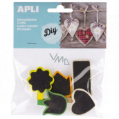 Apli Wooden pegs with a label with a colored edge of 5 pieces