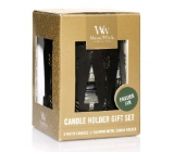 WoodWick Bronze Tress Frasier Fir - fir sparkling candle with petite wooden knot 3 x 31 g + candlestick gift set