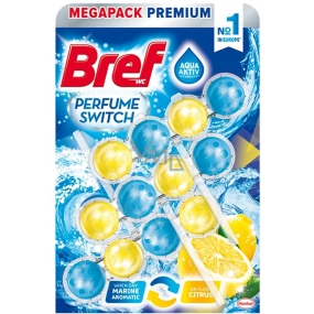 Bref Perfume Switch Marine-Citrus WC Block with Fresh Fragrance and Citrus Fragrance Effect 3 x 50 g