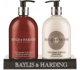 Baylis & Harding Men Black Pepper and Ginseng Liquid Soap Dispenser 500 ml + Hand Milk Dispenser 500 ml, Cosmetic Set for Men