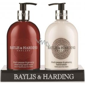 Baylis & Harding Men Black Pepper and Ginseng Liquid Soap 500 ml + Hand Milk 500 ml, for men cosmetic set