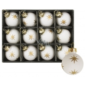 Glass white flasks with star set of 3 cm, 12 pieces