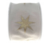 Ditipo Fabric ribbon with white gold star wire 2 mx 40 mm