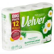 Velvet Camomile & Aloe toilet paper with the scent of chamomile 3-ply 12 pieces
