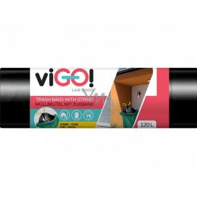 viGO! Retractable garbage bags black, 27 µ, 120 liters 70 x 100 cm 10 pieces