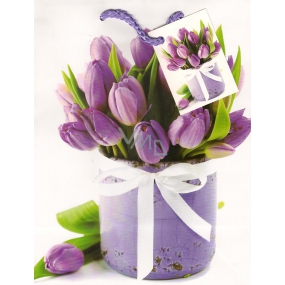 Nekupto Gift paper bag 23 x 18 x 10 cm Purple tulips 1 piece 757 02 BM