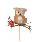 Owl with a 6cm red wool + skew