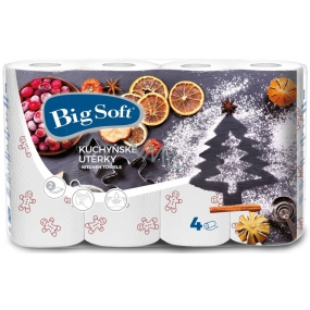 Big Soft Winter paper kitchen towels with print 2 ply 4 pieces