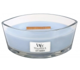 WoodWick Soft Chambray - Pure linen scented candle with wooden wide wick and glass boat lid 453 g
