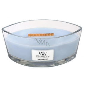 WoodWick Soft Chambray - Clean linen scented candle with wooden wide wick and glass boat lid 453 g