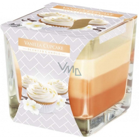 Bispol Vanilla Cupcake - Vanilla cupcake tricolor scented candle glass, burning time 32 hours 170 g