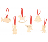 Decoration wooden hanging natural 6 pieces with Czech motifs
