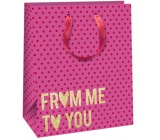 Ditipo Gift paper bag 26.4 x 13.6 x 32.7 cm pink, gold inscription Glitter