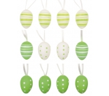 Eggs plastic green for hanging 4 cm, 12 pieces in a bag with 2 flowers