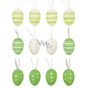 Plastic oval eggs for hanging 4 cm, 12 pcs in bag with 2 flowers