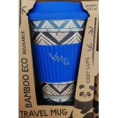 Cozy Time Bamboo Eco Tribal bamboo ecological thermo mug + silicone cap blue 450 ml