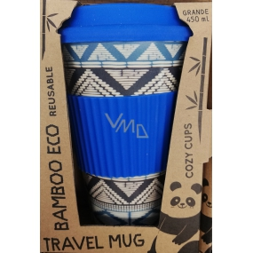 Cozy Time Bamboo Eco Tribal bamboo ecological thermo mug + silicone lid blue 450 ml