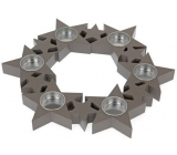 Candlestick Stars in a circle, wooden, gray 310 mm for 6 pieces of tea candles
