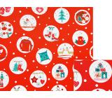 Nekupto Gift wrapping paper 70 x 200 cm Christmas red tree, skates, gifts in white circles