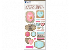 3D stickers with embossing and texts - love 17 x 9.5 cm