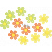 Self-adhesive flowers with glitter 3 cm, 12 pieces in a bag