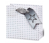 BSB Luxury gift paper bag 14.5 x 15 x 6 cm Christmas holographic stars VDT 412 - CD