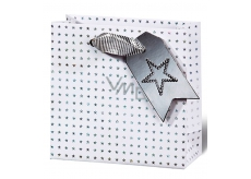BSB Luxury Christmas gift paper bag 14,5 x 15 x 6 cm holographic stars VDT 412 - CD