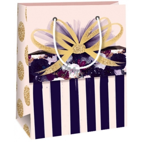 Ditipo Gift paper bag old pink, stripes, bows 11,4 x 6,4 x 14,6 cm QE
