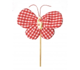 Butterfly fabric recess 8 cm + checkered skewers