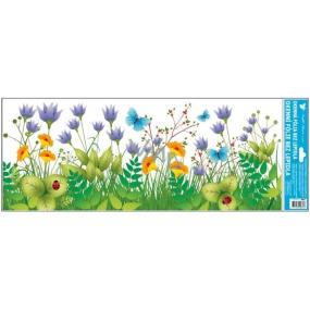 Room Decor Window foil without glue meadow purple flowers stripe 60 x 22, 5 cm