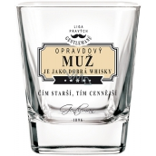 Nekupto League of True Gentlemen Whiskey glass A real man is like a good whiskey - The older, the more valuable 7 x 7 x 9 cm