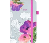 Albi Diary 2020 pocket with elastic band Watercolor flowers 15 x 9,5 x 1,3 cm