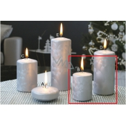 lima CANDLE cylinder Ice silver 50 x 70 mm 2 pieces