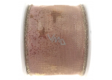 Ditipo Fabric ribbon with wire 2 mx40 mm old pink. with stars