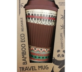 Cozy Time Bamboo Eco Ethnic bamboo ecological thermo mug + silicone lid brown, colored ornaments 450 ml